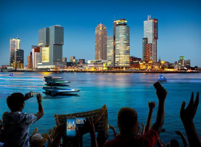 Als de plannen worden gerealiseerd, dan zou de speedbootrace op de Maas in Rotterdam er in 2023 ongeveer zoals op deze fictieve foto uit moeten zien.