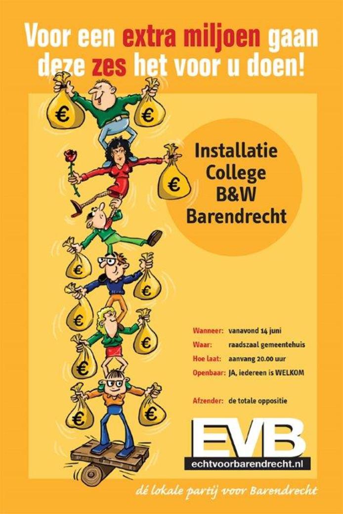 In een pamflet laat de partij weten dat alle mensen in Barendrecht naar het gemeentehuis moeten komen.