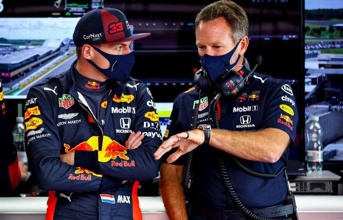 Max Verstappen en Christian Horner.