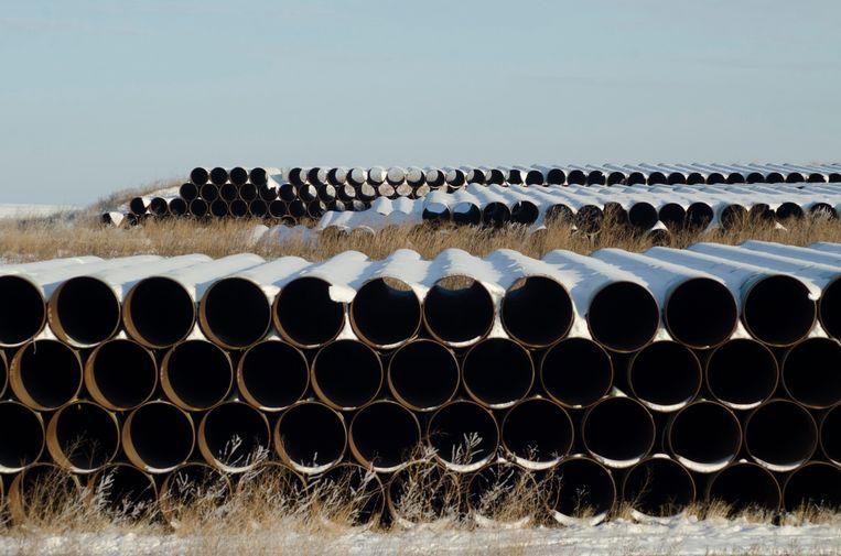 Buizen die voor de Keystone XL pijpleiding zouden gebruikt worden in 2014. Beeld REUTERS