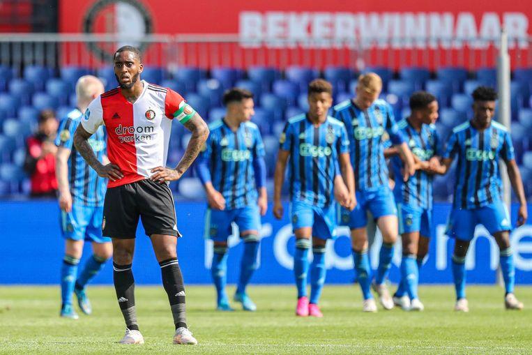 Feyenoordspeler Leroy Fer na de 0-3-nederlaag tegen Ajax in de Rotterdamse Kuip. Beeld ANP