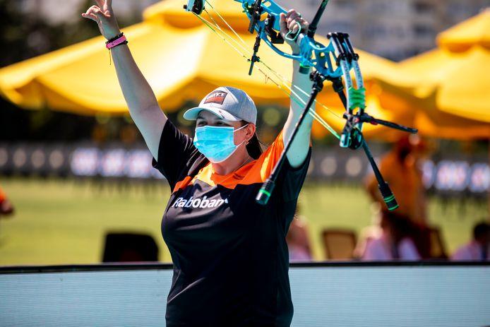 Sanne de Laat pakte het brons in Antalya in de compoundklasse.