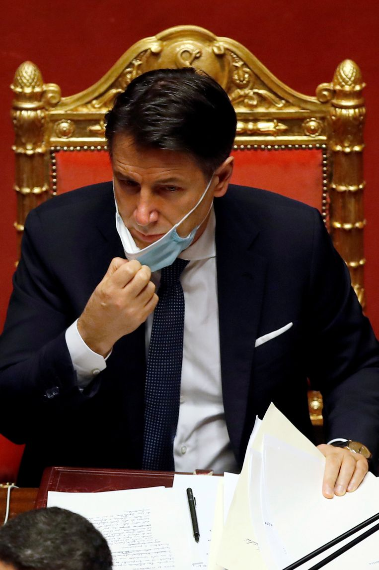 De Italiaanse premier Giuseppe Conte op 19 januari in Rome. Beeld Reuters