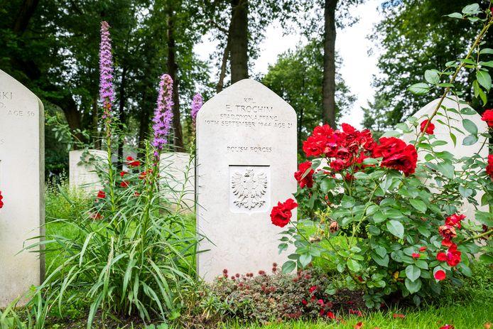 De nieuwe steen bij de laatste rustplaats van Edward Trochim op de Airborne Begraafplaats in Oosterbeek.