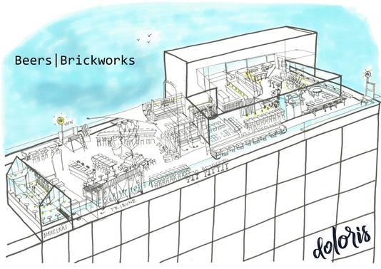 Het ontwerp voor de nieuwe rooftop-bar van Tilburg.