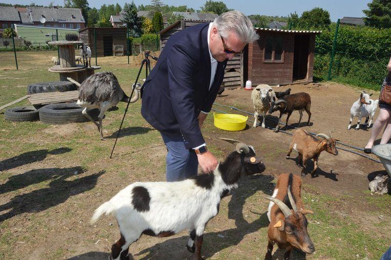 Prins Laurent maakt kennis met de geitjes.