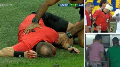Shockerende beelden uit Europa League: grensrechter krijgt vanuit tribunes volle bierbeker tegen hoofd, met stevige wonde als gevolg