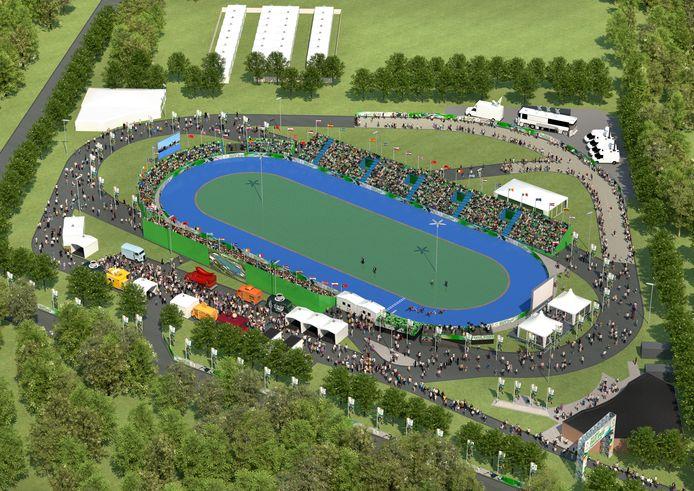 Een artist impression van hoe het sportpark van Skeelerclub Oost Veluwe er komend weekeinde bij ligt; het skateterrein van de club ondergaat een soort van metamorfose tot groots evenemententerrein.