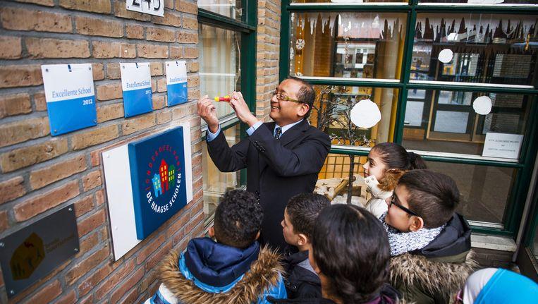 De Van Ostadeschool in de Haagse Schilderswijk kreeg voor de derde keer op rij het predicaat 'excellent'. Beeld anp