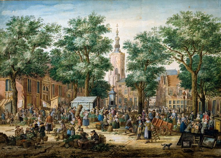 De Groenmarkt in Den Haag, 1769.  Beeld Heritage Images/Getty Images