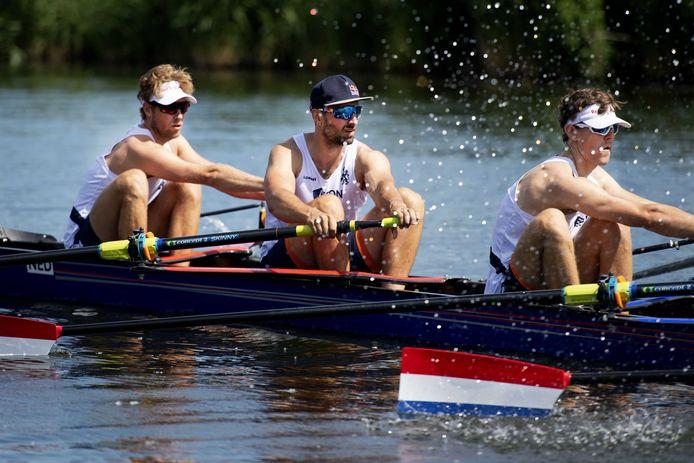 Ruben Knab (midden op archiefbeeld) gaat in Tokio met de Holland Acht op jacht naar olympische goud.