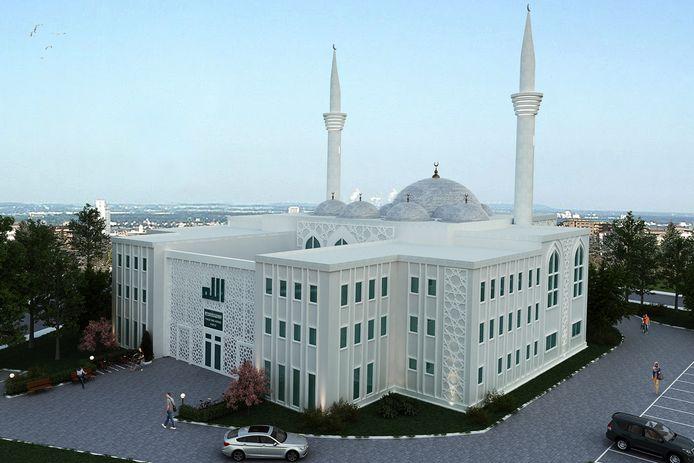 Het basisontwerp van het Duitse architect Sedat Yilbirt oogt modern. Centraal boven de hoofdingang staat de naam Alll (Allah) groot afgebeeld.