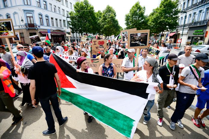 Demonstranten demonstreren voor vrede in de Gazastrook in Brussel in juli.