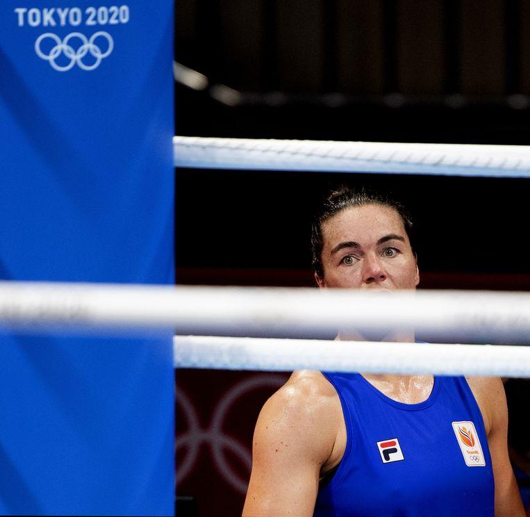 Nouchka Fontijn, teleurgesteld na haar nederlaag in de halve finale. Beeld ANP