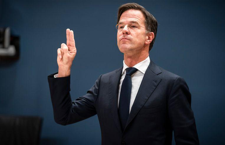 Premier Mark Rutte legt de eed af voor zijn verhoor door de parlementaire commissie Kinderopvangtoeslag. Beeld Freek van den Bergh / de Volkskrant