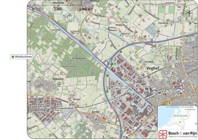 De beoogde locaties van de windmolens bij de Amert en de Dubbelen in Veghel.