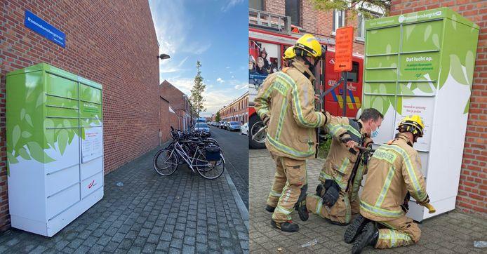 MECHELEN - De pakjesautomaat in de Rommekensbergstraat (links) / De brandweer op het moment dat ze het jongetje uit de locker konden bevrijden (rechts).