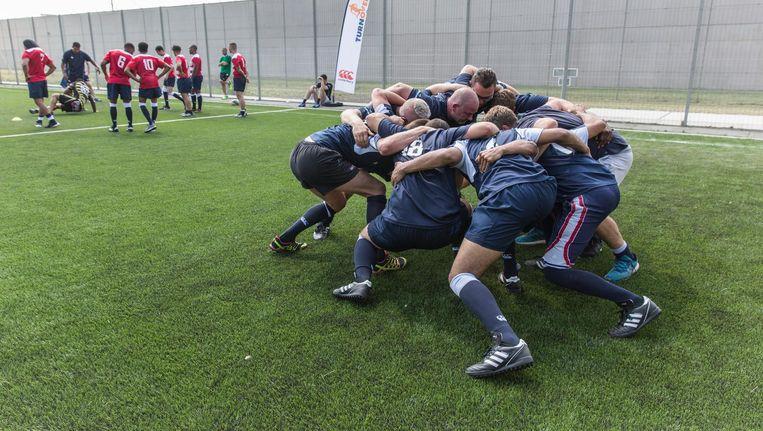 In Justitieel Complex Zaanstad was donderdag een rugbyclinic Beeld Dingena Mol