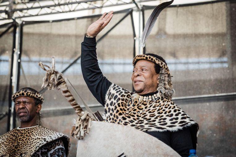 Goodwill Zwelithini spreekt zijn aanhangers toe in 2018.  Beeld AFP