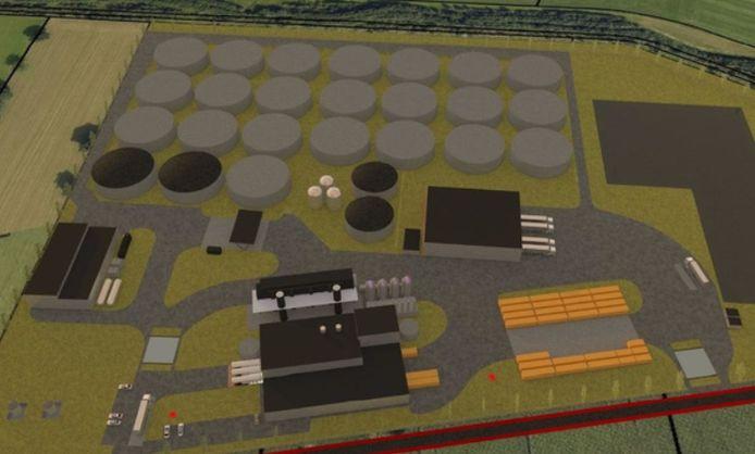 Een impressie van de mestvergister, zoals die op bedrijventerrein Laarberg kan worden gebouwd. In Groenlo bestaat flinke weerstand tegen de plannen.