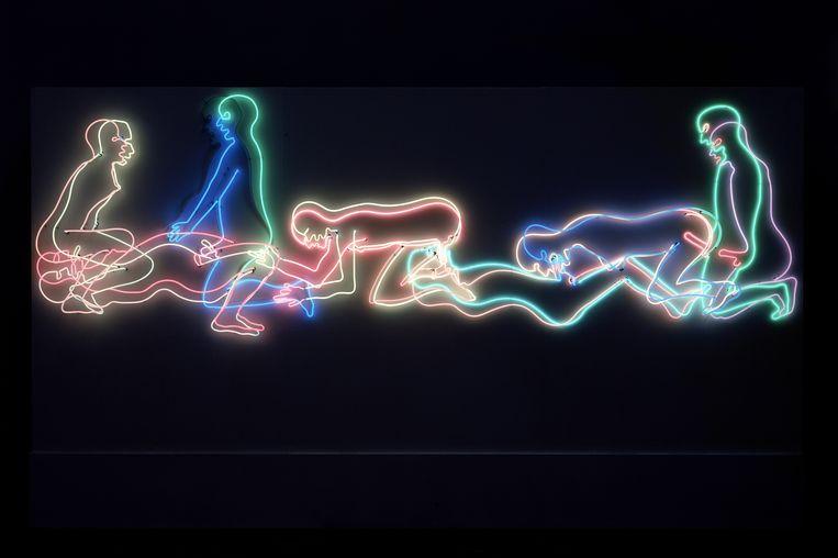 Seven Figures (1985), onderdeel van de vaste collectie van het Stedelijk Museum in Amsterdam. Beeld Bruce Nauman / Pictoright Amsterdam