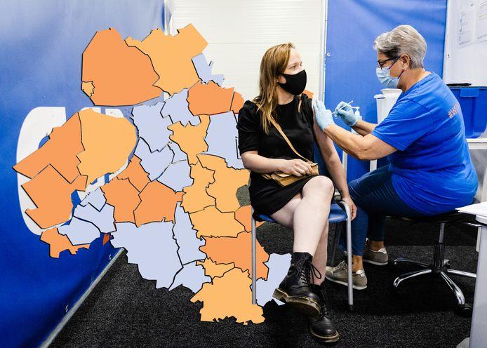 Actuele kaart aantal positieve corona-testen.