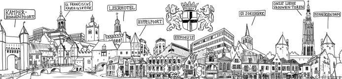 De tekening van de fictieve skyline van Amersfoort