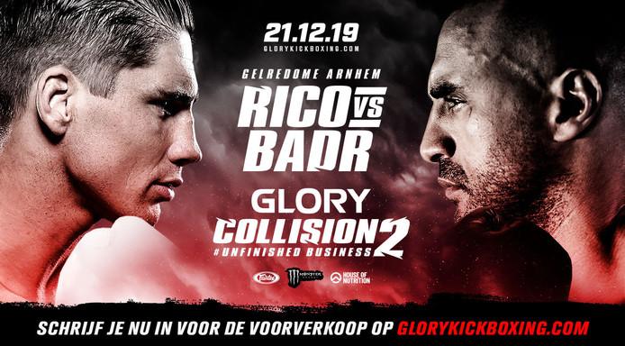 Het affiche van het gevecht tussen Rico en Badr.