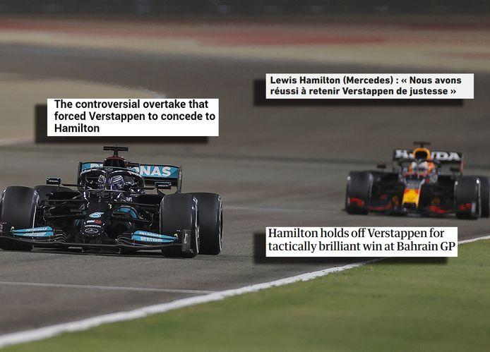 Lewis Hamilton (links) en Max Verstappen.