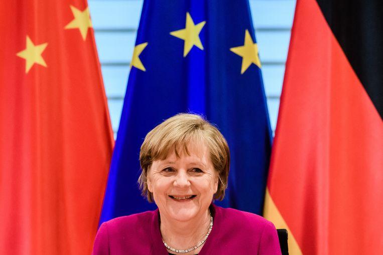 Bondskanselier Angela Merkel zal op 5 mei met premier Mark Rutte en Nederlandse studenten in gesprek gaan over de betekenis van vrijheid.  Beeld EPA