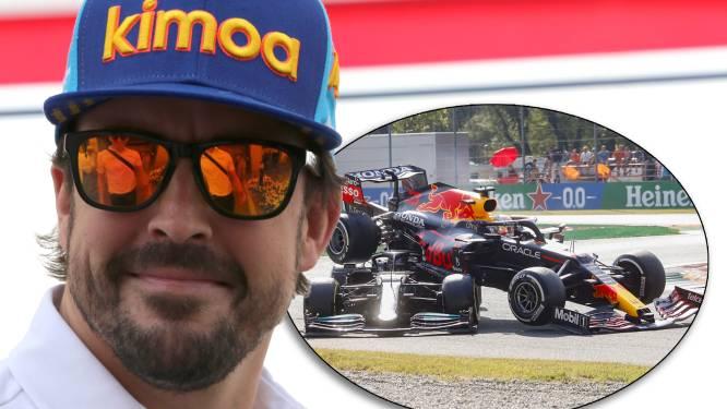 Fernando Alonso ziet geen gevaar bij crash Verstappen en Hamilton: 'Ze rijden 40 kilometer per uur'