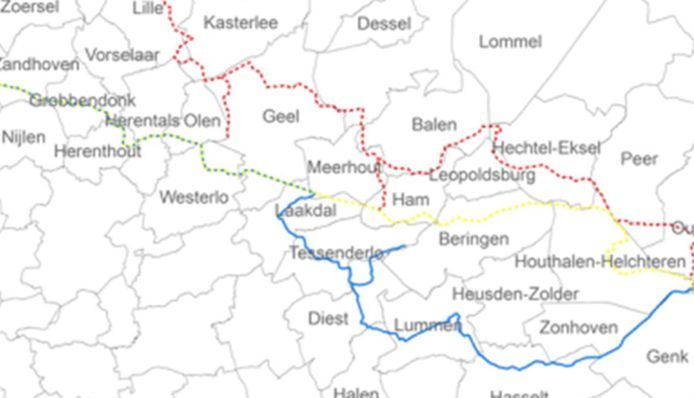 De drie mogelijke tracés in de Zuiderkempen. Na een participatieperiode zal de Vlaamse overheid, op basis van de opmerkingen, voor één tracé kiezen.