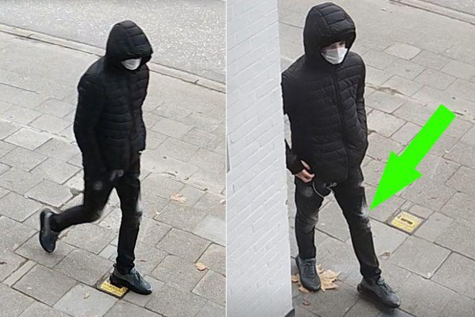 De verdachte droeg een afgewassen broek.