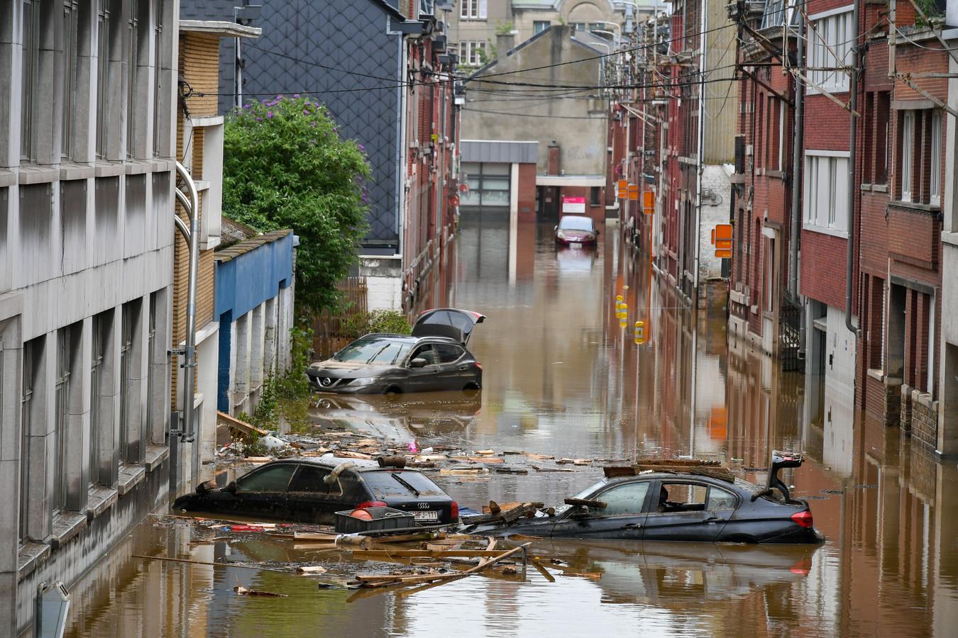 Dégâts causés par les inondations à Liège après les fortes pluies de ces derniers jours, vendredi 16 juillet 2021.
