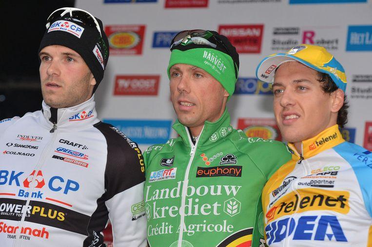 Het podium: Niels Albert, Sven Nys en Tom Meeusen. Beeld BELGA
