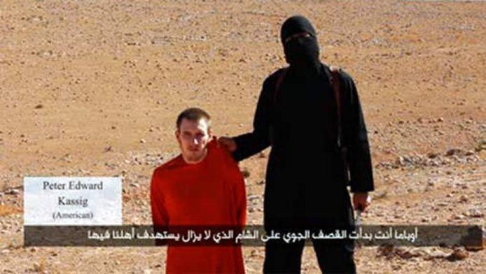 Peter Kassig tijdens de aankondiging van zijn onthoofding, begin oktober