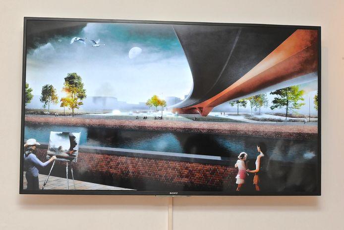 Expositie Menen aan de Leie. Er zijn ook simulatiebeelden van de toekomstige Leiebrug te zien.