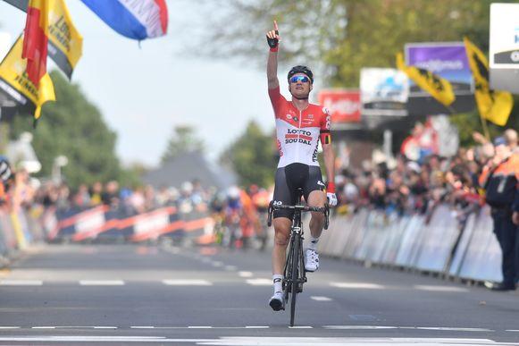 Tim Wellens reed vorig jaar in Overijse als eerste over de eindmeet in de Brabantse Pijl.