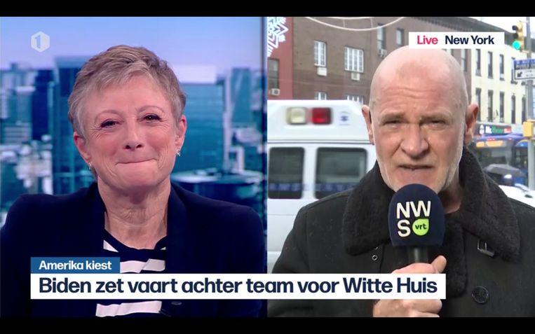 Bjorn Soenens neemt afscheid van Martine Tanghe in haar laatste journaal. Beeld VRT