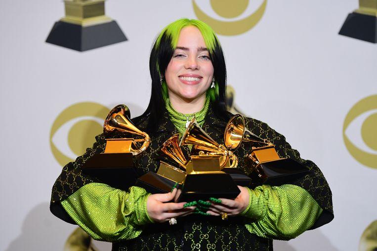 Billie Eilish ging naar huis met beeldjes voor alle belangrijke Grammy-categorieën.   Beeld AFP