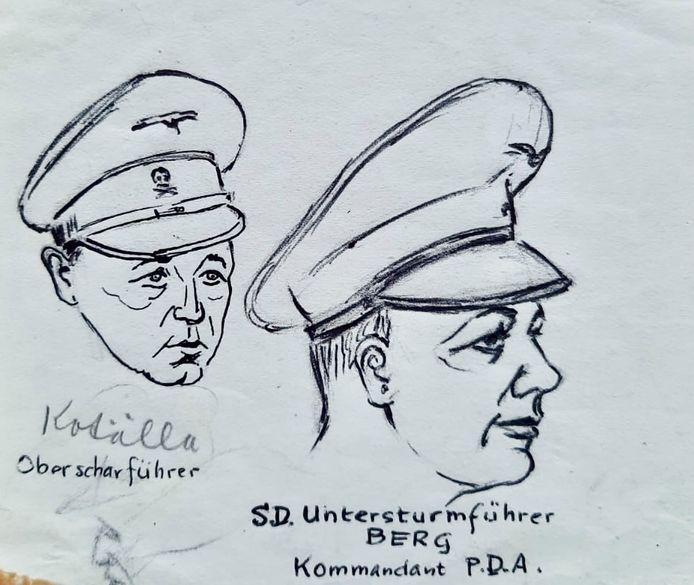 Tekeningen van kampbeul Joseph Kotalla en Karl Peter Berg, de later ter dood veroordeelde commandant van Kamp Amersfoort.