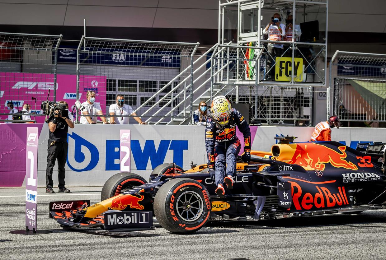 Max Verstappen (Red Bull Racing) na afloop van de kwalificatie voor de Grote Prijs van Oostenrijk.  Beeld ANP