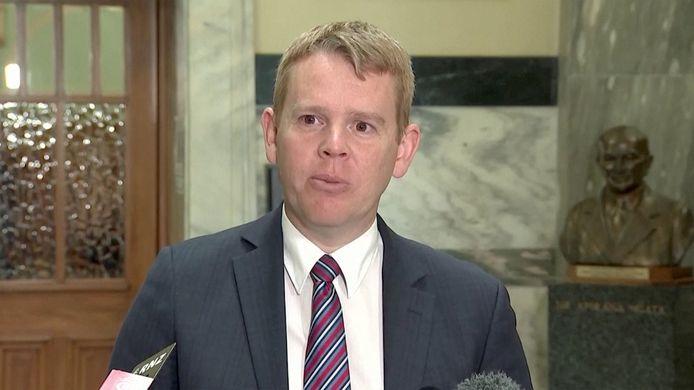 De Nieuw-Zeelandse minister Chris Hipkins, bevoegd voor de bestrijding tegen het coronavirus.
