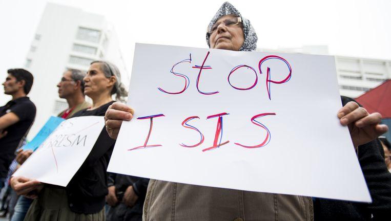 Aanhangers en sympathisanten van de Koerdische Arbeiders Vereniging, in september op het Spuiplein in Den Haag. Deze personen zijn niet betrokken bij jihadstrijders. Beeld anp