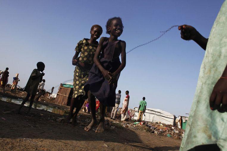 Kinderen spelen in het VN-vluchtelingenkamp in Bentiu. Beeld null