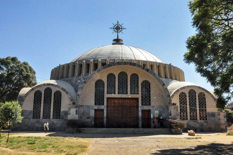 De kathedraal van de Heilige Maria van Zion in de plaats Aksum in de noordelijke Ethiopische provincie Tigray, waar een bloedbad zou hebben plaatsgevonden eind vorig jaar.  Beeld AP