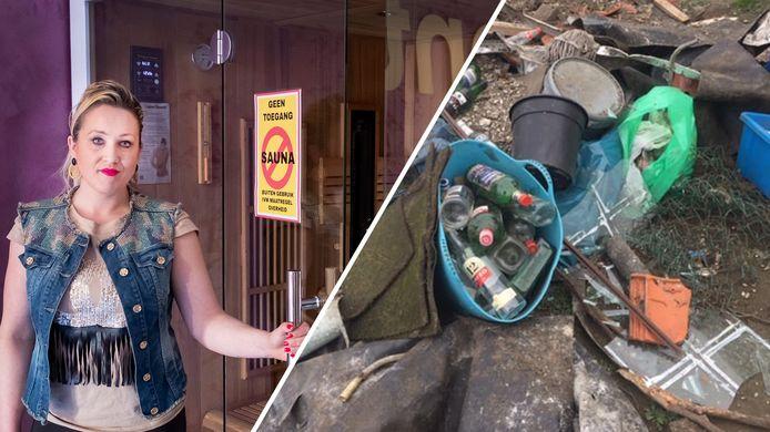 Sauna-eigenaar Vanessa is boos om de sluiting en de afvaldump in Ede.