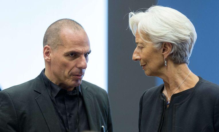 Varoufakis en IMF-topvrouw Christine Lagarde. Beeld AFP