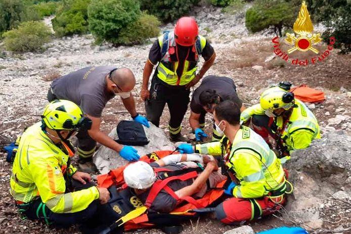 Brandweer op Sardinië gaf deze foto vrij van de reddingsactie.