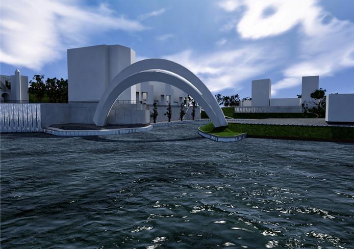 Een artist impression van de brug, hier in geopende stand: zo kunnen schepen de haven in en uit.